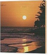 Accra Beach Sunset Wood Print