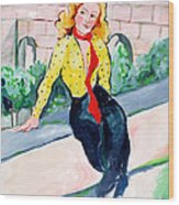 Actress In A Walled Garden Wood Print