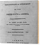 Adams: Title Page, 1787 Wood Print by Granger