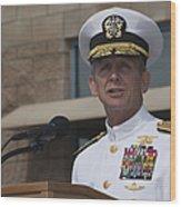 Admiral Eric Olson Speaks Wood Print by Michael Wood