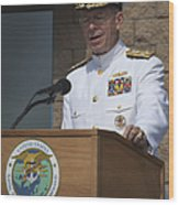 Admiral Mike Mullen Speaks Wood Print by Michael Wood