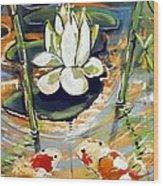 Admiring A Lotus Wood Print by Robert Wolverton Jr