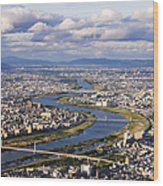 Aerial Japanese Cityscape And River Wood Print by Jeremy Woodhouse