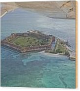 Aerial Of Fort Jeffereson, At Dry Wood Print by Mike Theiss