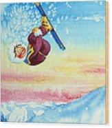 Aerial Skier 13 Wood Print