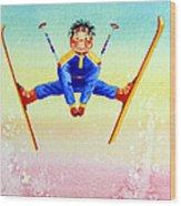 Aerial Skier 17 Wood Print by Hanne Lore Koehler