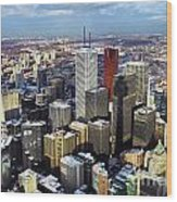 Aerial View From Cn Tower Toronto Ontario Canada Wood Print