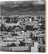 Aerial View From Southern Nicosia Over Northern Turkish Controlled Nicosia In Nicosia Lefkosia Wood Print