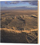 Aerial View Of Chaco Canyon And Ruins Wood Print