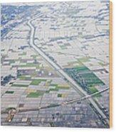Aerial View Of Flooded Farmland Wood Print