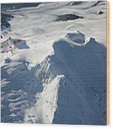 Aerial View Of Glaciated Mount Douglas Wood Print