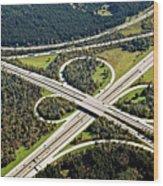 Aerial View Of Junction In Bavaria Wood Print by Daniel Reiter