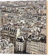 Aerial View Of Paris Wood Print by Landscape and urban landscape