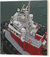 Aerial View Of Red Tug  Wood Print