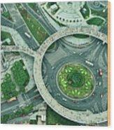 Aerial View Of Shaghai Traffic Wood Print
