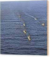 Aerial View Of Ships In Formation Wood Print