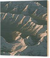 Aerial View Of Snowcapped Mountain Wood Print