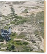Aerial View Of Stage Harbor Light In Chatham On Cape Cod Massac Wood Print