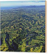 Aerial View Of The Nadi River Winding Wood Print