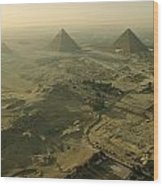 Aerial View Of The Pyramids Of Giza Wood Print