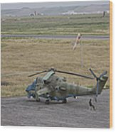 Afghan Army Soldiers Guard An Mi-35 Wood Print
