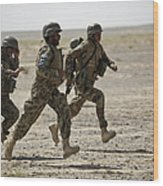 Afghan National Army Soldiers Run Wood Print