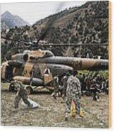 Afghan National Army Soldiers Unload Wood Print