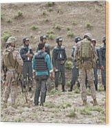 Afghan Police Students Listen To U.s Wood Print