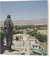 Afghan Policeman Standing Wood Print