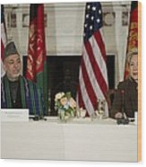 Afghan President Hamid Karzai And Sec Wood Print by Everett