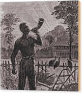African American Blowing The Wake-up Wood Print
