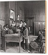 African American Children Learning Wood Print