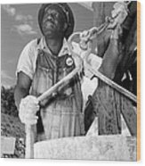 African American Construction Worker Wood Print