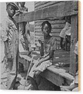 African American Farm Children Wood Print