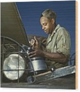 African American Soldier, A Truck Wood Print