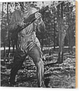 African-american Soldier Charging Wood Print