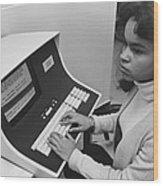 African-american Woman Computer Wood Print