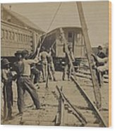 African American Work Crew In Northern Wood Print by Everett