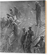 African American Workers Construction Wood Print