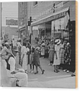 African Americans Shopping And Visiting Wood Print by Everett