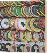 African Beaded Earrings Wood Print