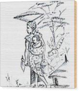 African Rural Woman Wood Print