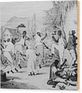 Afro-caribbean Slaves Dancing Wood Print by Everett