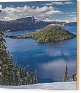 Afternoon Clearing At Crater Lake Wood Print
