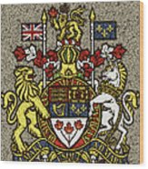 Aged And Cracked Canada Coat Of Arms Wood Print