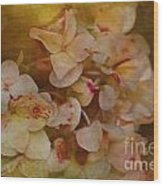 Aged Hydrangeas With Texture Wood Print