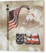 Aged Usa Flag On Pole Wood Print