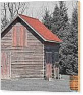 Aging Shed And Barrel Wood Print