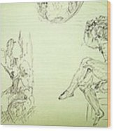 Agony And Atlas Sketch Of Him Throwing The World Onto Her As He Transforms Life Burden To Freedom Wood Print