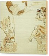 Agony And Atlas Sketch Watercolor Throwing The World As He Transforms Life From A Burden To Freedom Wood Print